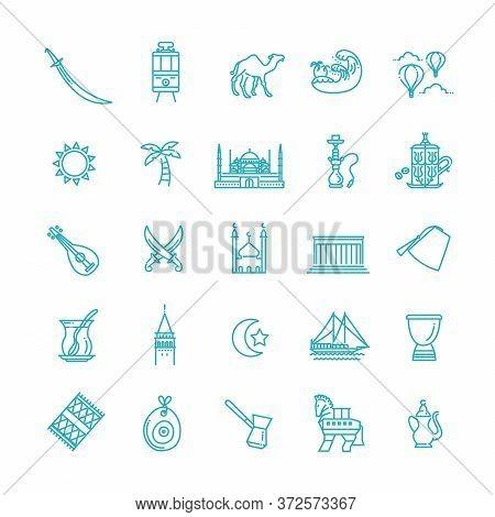 Thin Vector Turkey Symbol Icon Set. Set Of Turkey Icons