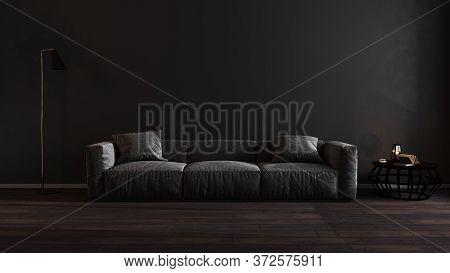 Luxury Dark Living Room Interior With Gray Sofa Mock Up, Modern Interior Background, Empty Black Wal