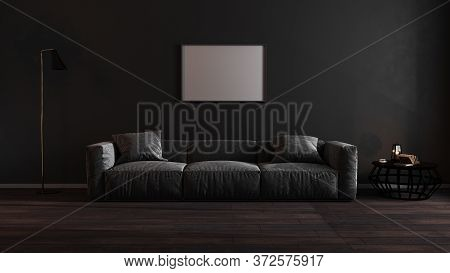 Horizontal Blank Poster Frames Mock Up In Luxury Dark Living Room Interior With Gray Sofa, Modern In