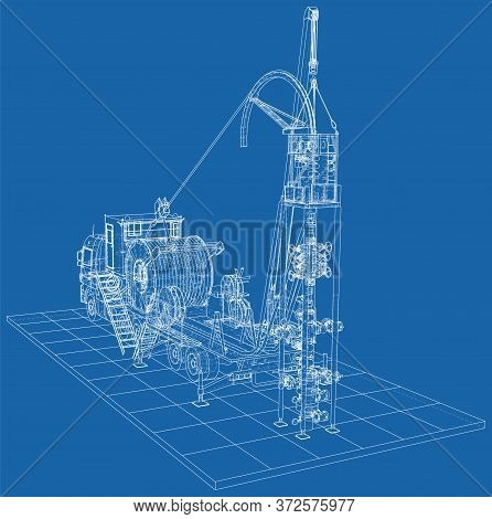 Coil Tubing Unit Machine Truck. Eps10 Format. Vector Created Of 3d