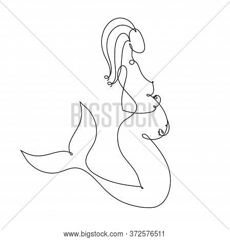 Pregnant Mermaid. Pregnant Mermaid Fantasy Woman Vector Silhouette One Line Drawing, Vector Illustra