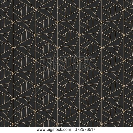 Golden Ramadan Vector Rhombus Swatch Texture. Dark Ornate Graphic, Technology Repeat Pattern. Repeti