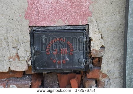 Yugoslavia - Circa 1980 : Black Metal Plate With Red Letters Made By Yugoslavian Railway Electrical