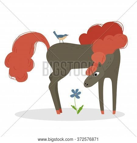 Bay Horse With A Orange Mane With Bird And Flower. Illustration For Children.