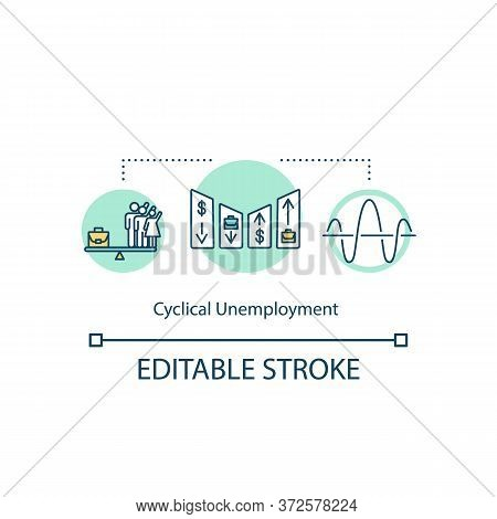 Cyclical Unemployment Concept Icon. Social Issue With Job. Labor Force Problem. Economical Crisis Id