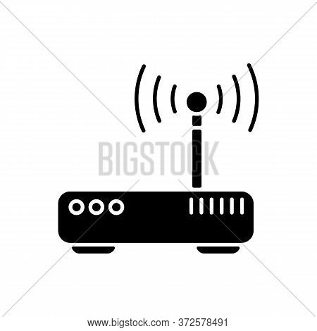 Gateway Black Glyph Icon. Tunnel Proxy Server, Wireless Internet Connection Access Point Silhouette
