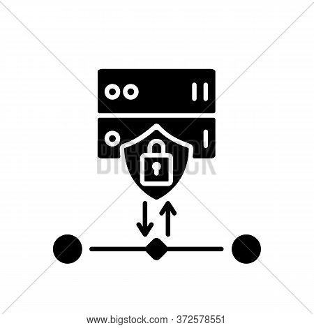 Ssl Encryption Black Glyph Icon. Website Safety, Cybersecurity Silhouette Symbol On White Space. Rev