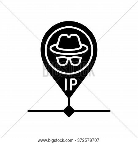 Hidden Ip Address Black Glyph Icon. Online Privacy And Anonymity, Internet Security Silhouette Symbo