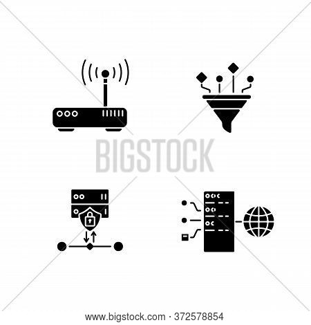 Cybersecurity Black Glyph Icons Set On White Space. Gateway, Content Filtering, Ssl Encryption And T