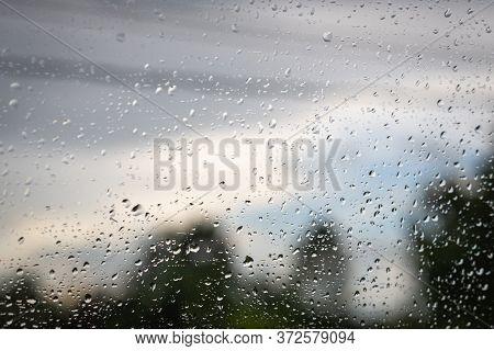 Rainy Day Through Window. Rain On Window. Raindrops On Window Glass. Rain. Rainy Day. Raindrops. Rai