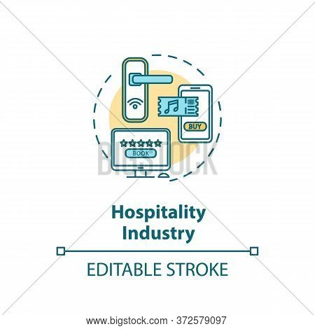 Hospitality Industry Concept Icon. Lodging And Hotel For Tourism. Buy Ticket To Event. Online Bookin