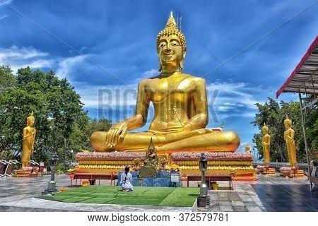 Thailand, Pattaya 04,07,2017  Big Buddha. Large Golden Buddha On A Hill Above Pattaya. Thailand.