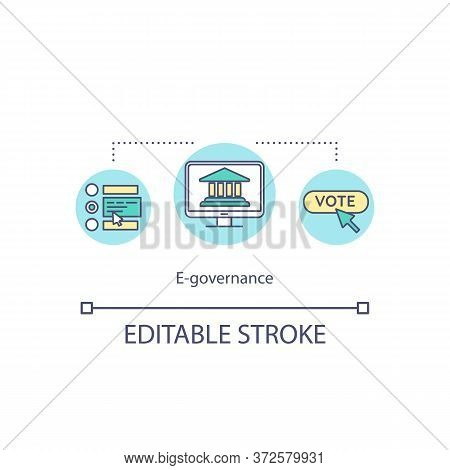 E Governance Concept Icon. Electronic Government. Vote Online. Internet Connection For Social Servic