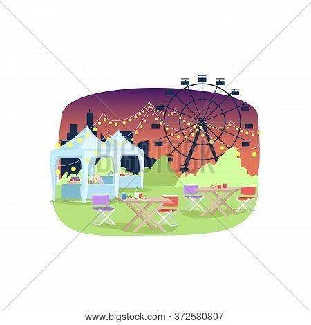 Summer Funfair Semi Flat Vector Illustration. Tables And Food Selling Tents Near Ferris Wheel 2d Car