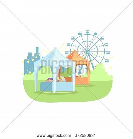 Street Stands In Park Semi Flat Rgb Color Vector Illustration. Summer Funfair With Attractions And V