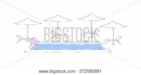 Water Pool Semi Flat Rgb Color Vector Illustration. Swimming Pool With Deck Chairs And Umbrellas Iso