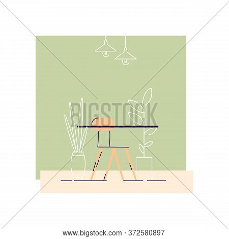Coffee Table Semi Flat Vector Illustration. Room With Small Table And Chair 2d Cartoon Interior For