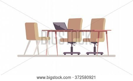Conference Room Semi Flat Rgb Color Vector Illustration. Space For Corporate Work. Desktop To Hold J
