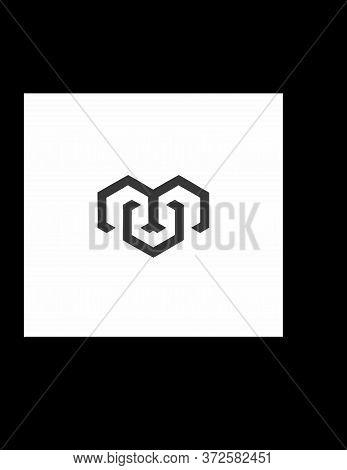 Mv, Mu, Vm, Um Initials Geometric Hive Bee Shape Logo And Vector Icon