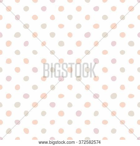 Seamless Pastel  Vector  Pattern With Pink Polka Dots On A White Background. For Kids Website Design