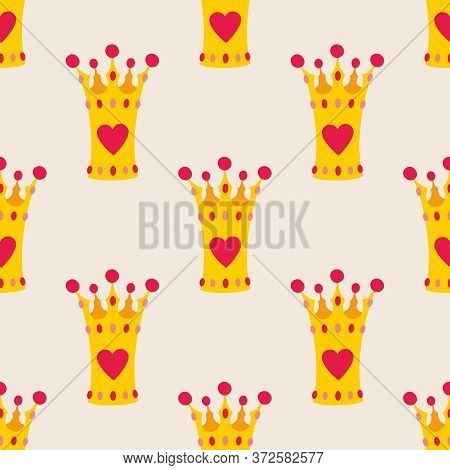 Pink Crown Seamless Background Or Tile Vector Pattern