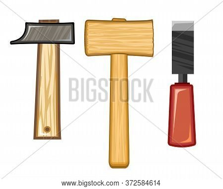 Hammers And Chisel. Vector. Steel Hammer For Hammering Nails. Wooden Hammer For Hitting The Boards.