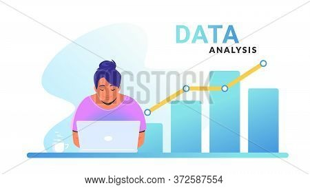 Data Analysis For Increasing Sales And Revenue. Flat Line Vector Illustration Of Cute Woman Sitting