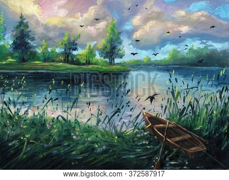 Summer Oil Painting Nature Forest Landscape Background On Canvas With Pond, Evening Sunset, Lake, Gr