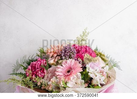 Beautiful Bouquet Of Gerbera, Hydrangea, Rose, Alstroemeria Flowers On A White Background. Stylish F