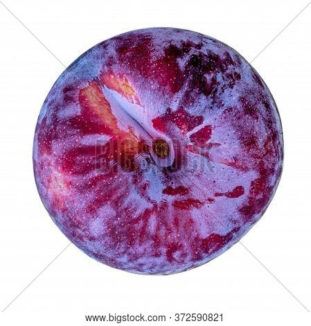 Ripe  Plum Fruits Isolated On White Background. Whole  Blue Plum Macro. Top View. Flat Lay