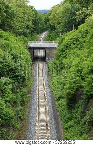 Railway Line Near Görlitz That Converges To A Vanishing Point