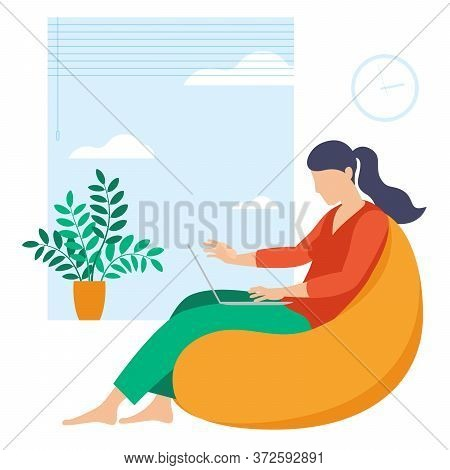 The Best Place For Remote Work. Young Woman Is Working Outsourced. Lat Design Vector Illustration, R
