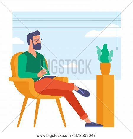 The Best Place For Remote Work. Young Man Is Working Outsourced. Lat Design Vector Illustration, Rea