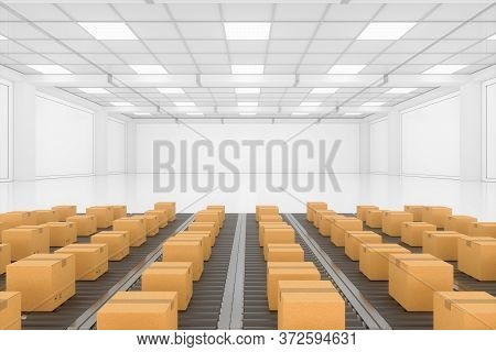 Transportation Of The Container Box On The Conveyer Belt, 3D Rendering