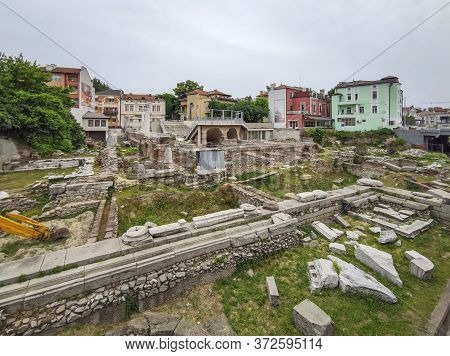 Plovdiv, Bulgaria - May 19, 2020: Ruins Of Roman Odeon In City Of Plovdiv, Bulgaria