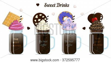 A Set Of Milk And Coffee Cocktails With Toppings, Cream, Whipped Cream, Cookies And Marshmallows. Ve