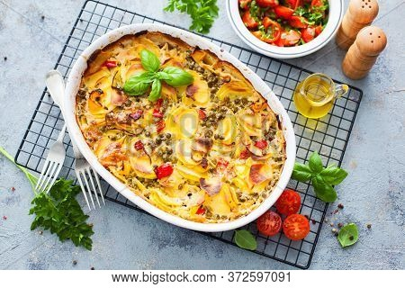 potato casserole with cream and cheese - food and drink
