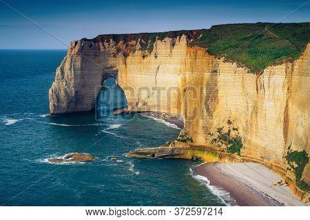 Stunning Atlantic Coastline Scenery. Amazing Beaches With Beautiful Seashore And High Cliffs, Etreta