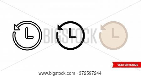 History Clock Icon Of 3 Types. Isolated Vector Sign Symbol.