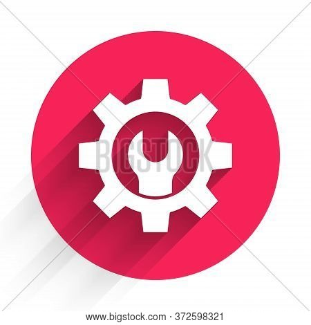 White Wrench Spanner And Gear Icon Isolated With Long Shadow. Adjusting, Service, Setting, Maintenan