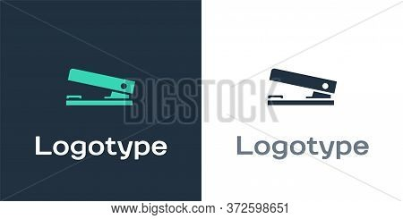 Logotype Office Stapler Icon Isolated On White Background. Stapler, Staple, Paper, Cardboard, Office