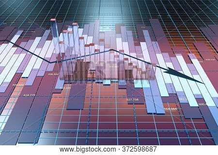 The Decrease Of The Economical Data, Business Statistics, 3D Rendering.