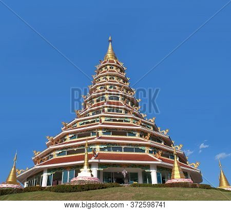 Buddhist Chedi (pagoda) In Chinese Style At Wat Huay Pla Kang, Known As Big Buddha Temple In Chiang