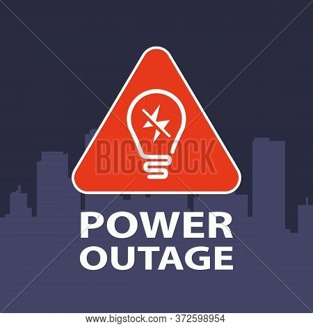 Triangular Sign Power Outage In The City. Flat Vector Illustration.