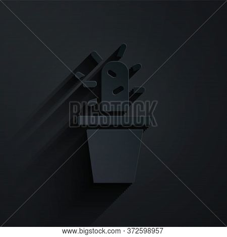 Paper Cut Cactus And Succulent In Pot Icon Isolated On Black Background. Plant Growing In A Pot. Pot