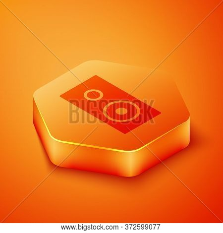 Isometric Stereo Speaker Icon Isolated On Orange Background. Sound System Speakers. Music Icon. Musi