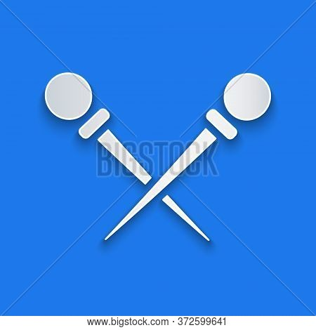 Paper Cut Knitting Needles Icon Isolated On Blue Background. Label For Hand Made, Knitting Or Tailor