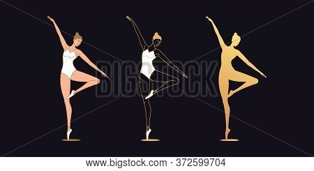 Golden Ballerina Woman In Outline Style. Set Of Silhouette, Ballet Dancer Stands On One Leg, Bends S
