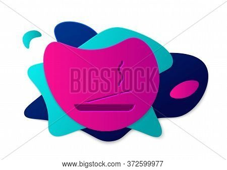 Color Scented Spa Stick On A Wooden Stand Icon Isolated On White Background. Incense Stick. Cosmetic