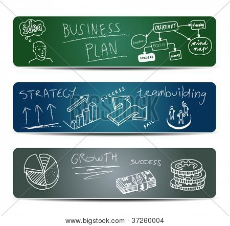 Business Doodles on a Blackboard